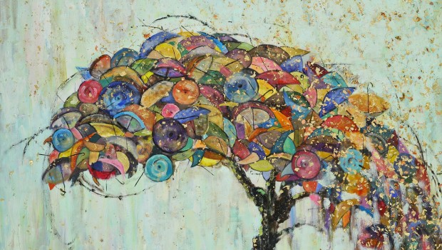 "Michelle Sakhai, Umbrella Bonsai II, 2012.  Oil, gold and copper leaf on canvas, 30"" x 40"" © Michelle Sakhai."